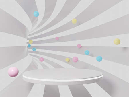 3D tunnel and colorful balls with podium.