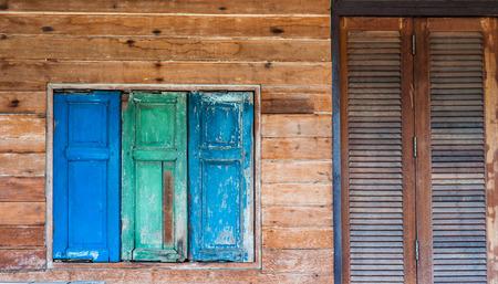 windows and doors: wood windows and doors Stock Photo