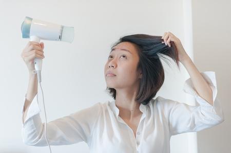 blow dry: woman in towel blow-dry
