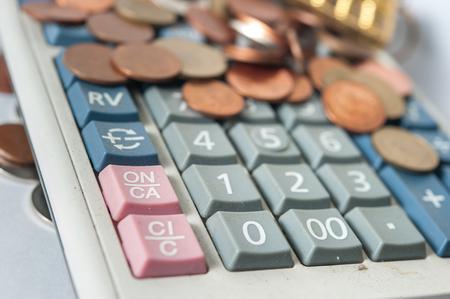 smacker: calculator coin bill cash smacker of Thailand selective focus at ON button