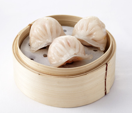 chinese Dimsum  Hagao  in bamboo basket