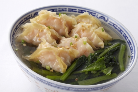 Shrimp wonton soup,close up photo