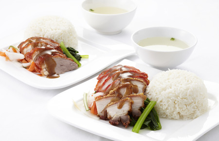 Couple dish of Chinese style roasted duck and pork with rice  photo