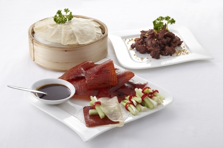 Chinese roasted duck set on white background