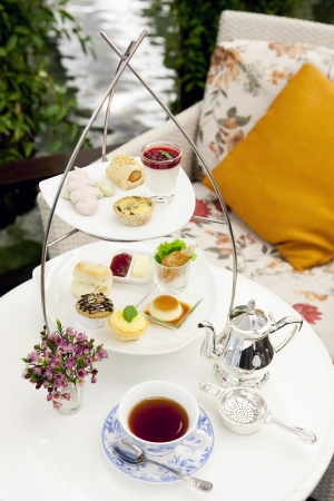 High tea set with dessert