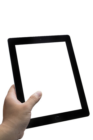 Left Hand holding tablet Фото со стока