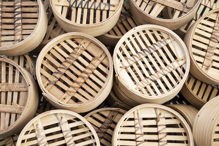 Dim sum Bamboo baskets background