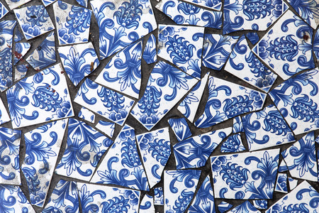 craked: Blue and white tiles background