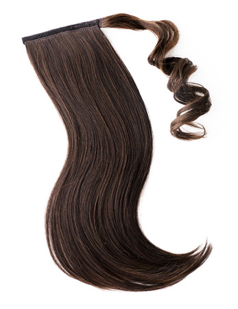 hair curl: Dark brown hair piece,pony tail Stock Photo