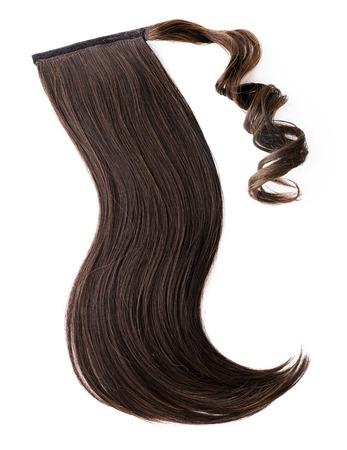 textura pelo: Pieza marr�n oscuro cabello, cola de caballo
