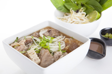 Vietnamese style beef noodles photo