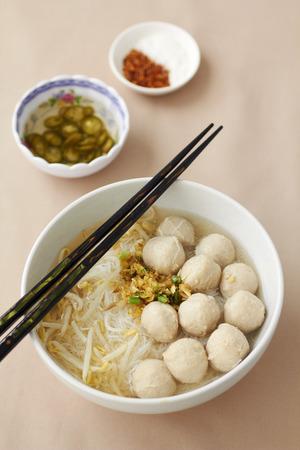 White noodle soup with pork ball Фото со стока