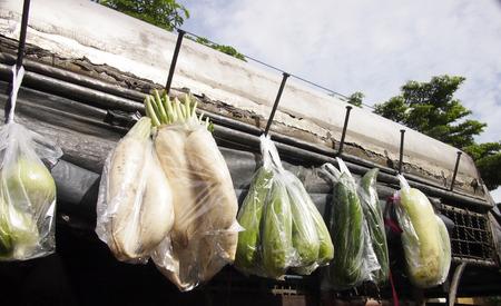 hanging around: Verduras en una bolsa de pl�stico que cuelga alrededor del techo del cami�n Foto de archivo