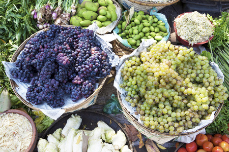 Grapes and other vegetables on sell in fresh market,Rangoon,Myanmar photo