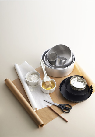 baking cake: Tools prepare for baking cake