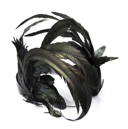 headband: Black feather headband on white