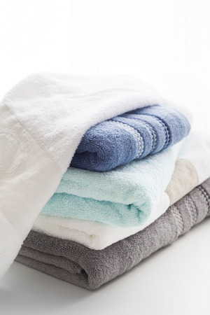 Soft and clean towel stacked,close up