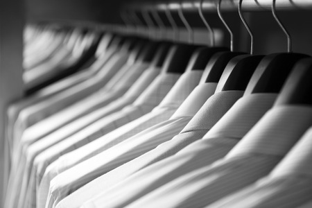 Shirts hanging stack,close up
