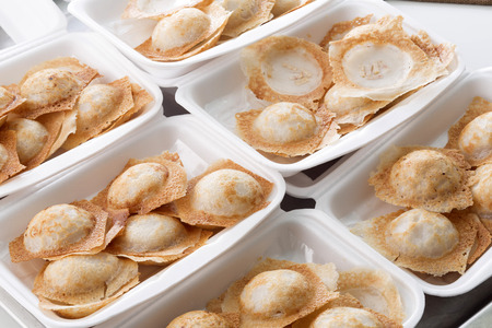 hotcakes: Sweet and Savory Grilled Coconut-Rice Hotcakes,Coconut Rice Cake,Thai coconut pudding Stock Photo
