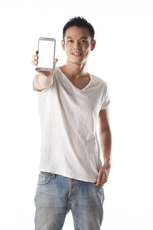 asian man showing mobile phone,right hand Imagens