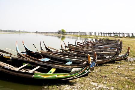 boas: Myanmar style wooden boas dock on beach