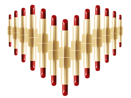 composed: Red colour lipstick composed in heart shape