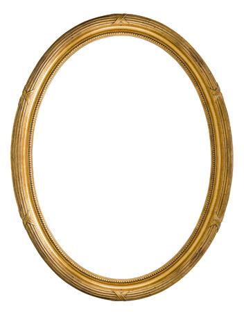 óvalo: color dorado marco de madera retro viejo Foto de archivo