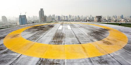 heliport: City rooftop heliport Stock Photo