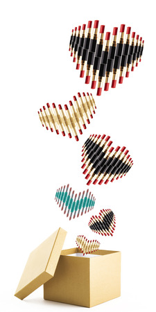 come in: Lipsticks group in heart-shape  come out from Golden color open box