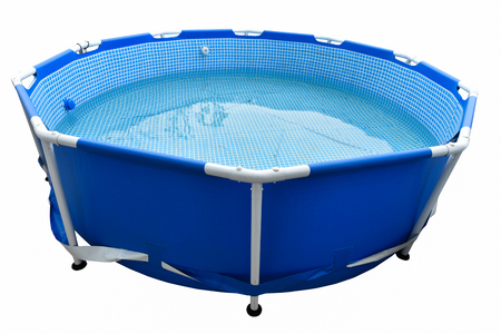 portable: Portable plastic swimming pool isolated on background Stock Photo