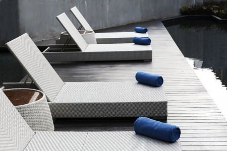 Blue color towel on outdoor bed