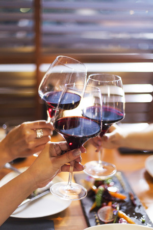 toasting: Wine toasting in dinner party Stock Photo