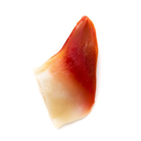 The Stimpson surf clam,hokkigai cut part prepared for sushi