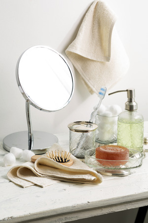 Toiletry Product on Table Stock Photo