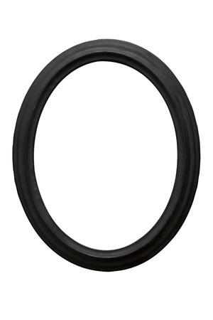 白い背景に分離された黒木製ヴィンテージ オーバル画像フレーム 写真素材