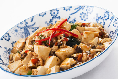 doufu: Mapo tofu,a popular Chinese dish from the Sichuan (Szechuan) province Stock Photo
