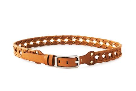Brown color fashion belt on background