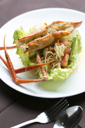 green papaya salad: Thai papaya salad with local river shrimp on top Stock Photo