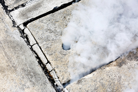 out of control: Pest control smoke come out from manhole
