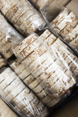 coconut palm sugar: Thai organic Coconut Palm sugar in plastic bag for sell in market