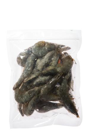 multiple: uncooked shrimp in plastic bag