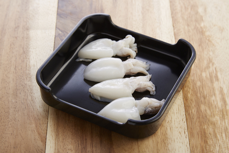Cuttlefish in tray for shabushabu