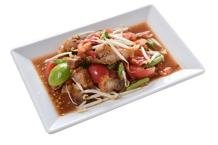 Long Bean Salad with Crispy Pork isolated