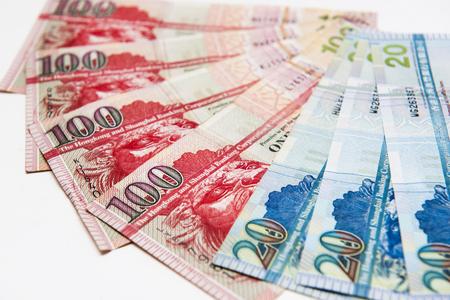 Stacked of Hong Kong Dollar bills,close up