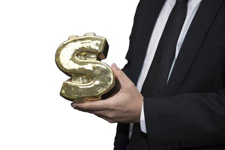 Hand holding Piggy bank in Money symbol shape Фото со стока