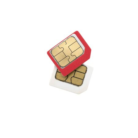 Red sim card on top of old white sim card