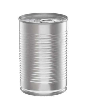 Tin can food container isolated on white 免版税图像