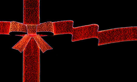 Christmas listing in bow ribbon shape on black background