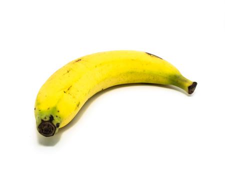 banana skin: Banana on white background Stock Photo