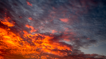 Sky with red clouds in the evening Stock Photo